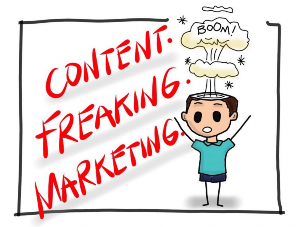 Content Freaking Marketing Cartoon by MKTR.AI