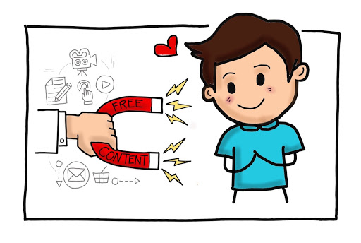 Free content lead magnet cartoon by MKTR.AI