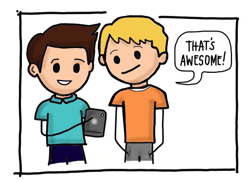 Cartoon image of two boys talking in a conversational tone by MKTR.AI
