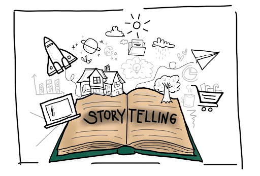 Image of an open book labeled storytelling for content marketing by MKTR.AI