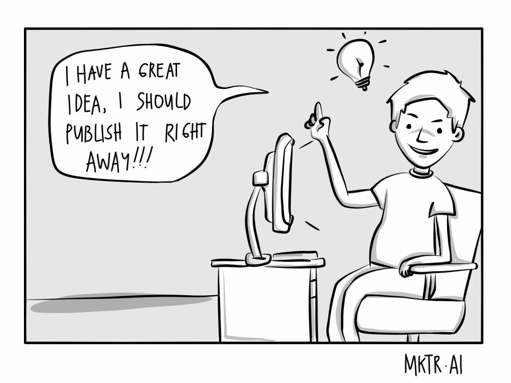 cartoon illustration about not refining and repurposing content by MKTR.AI