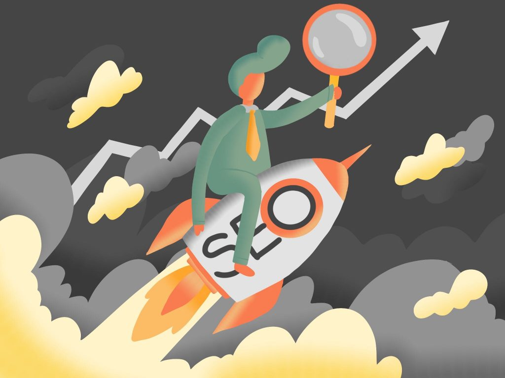 illustration for SEO article of man riding an SEO rocket