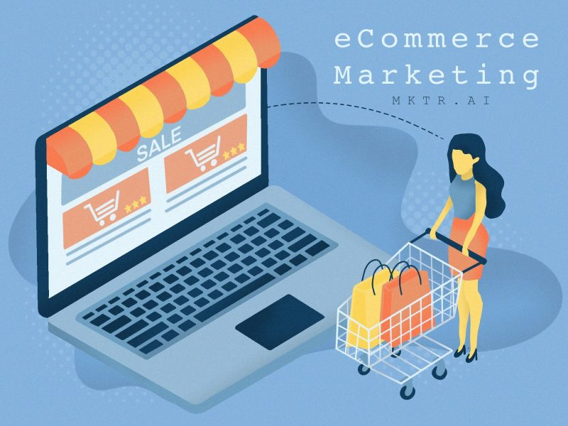 """Illustrated cover image for the article """"the best ways to market your ecommerce site"""" by MKTR.AI"""