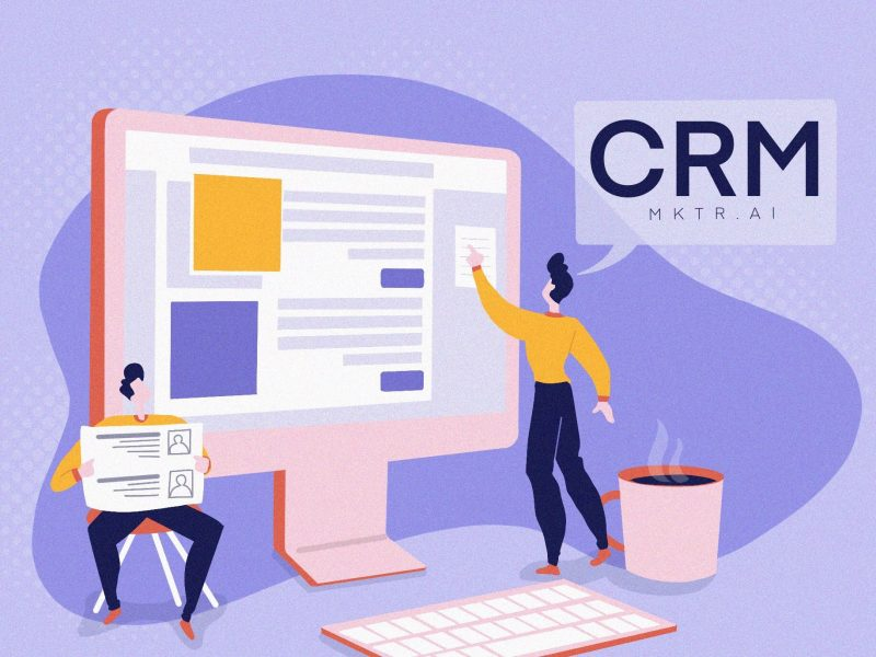 Illustrated cover image for CRM guide from MKTR.AI