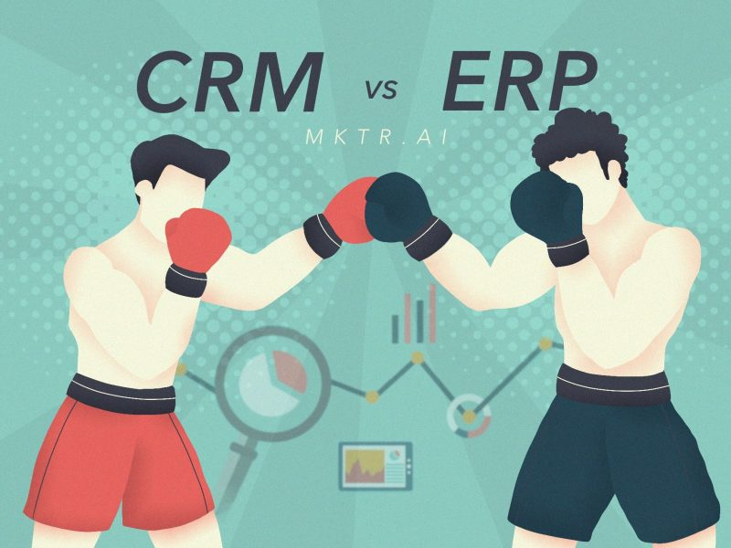 Illustrated cover image for an article by MKTR.AI comparing CRM and ERP tools