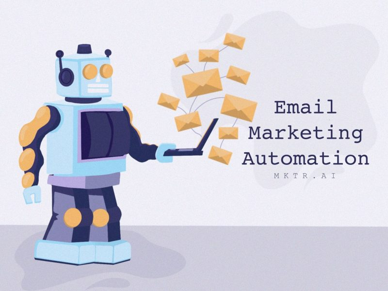 Illustrated cover image of a cartoon robot sending email for the article: Email Marketing Automation: What is it & Why does it matter? by MKTR.AI