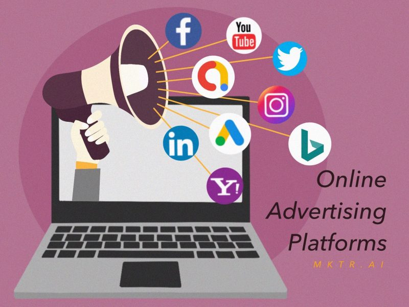 Illustrated Cover Image for article discussing online advertisement platforms by MKTR.AI